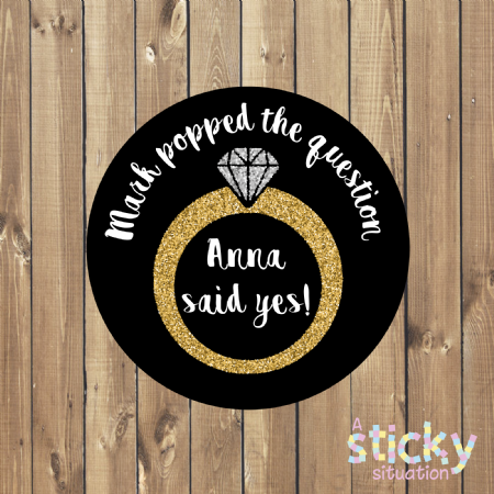 Personalised Engagement Party Stickers - Black and Gold Ring Design
